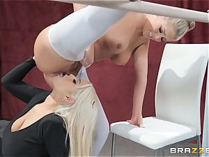 lezzies Bridgette B and Val Dodds heavy fuckbox tonguing after ballet