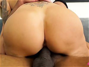 huge-chested blondie Nina Elle taking a thick black beef whistle