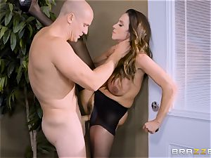 Office buxom babe Ariella Ferrera takes ample bone