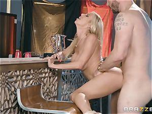 luxurious platinum-blonde Alexis Fawx boinked doggy-style
