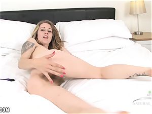 Izzy uses a vibrator to cum rock hard