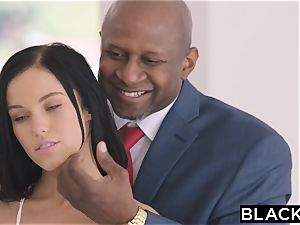 BLACKED warm Megan Rain Gets DP'd By Her Sugar father and His mate