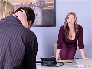 Julia Ann and Olivia Austin plumb the boss together
