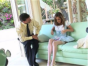 dirty maid Jenna Haze dies for manhood in her smooth-shaven slit