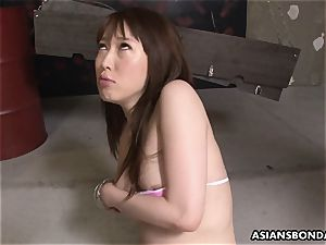 japanese sandy-haired chokes and salivates on the rock hard shaft