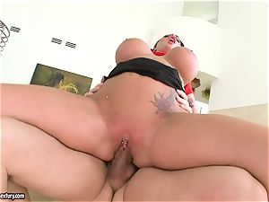 hefty titted Kerry Louise juggles her gash on a meaty prick