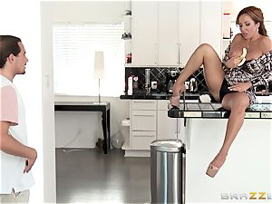 horny mom Richelle Ryan pounds her sonnies buddy in the kitchen
