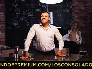 LOS CONSOLADORES - Hungarian platinum-blonde gets drilled pov