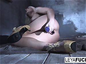 Leya Falcon inserts orgy toys in both her fuck-holes