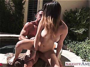 observe as Ashley Adams gets a blast on her tits