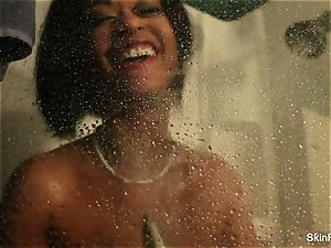 pornographic star skin Diamond plays with toy in the shower