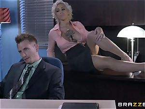 super-naughty assistant Harlow Harrison bangs the boss throughout his desk