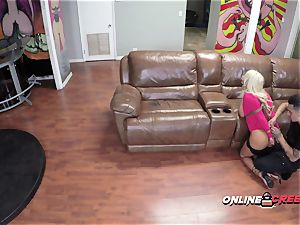 big-boobed Brandi is roped up and subdued by Bruno into taking his meaty pecker