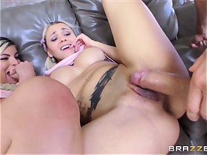 college girls Alex little and Marsha May share a enormous salami