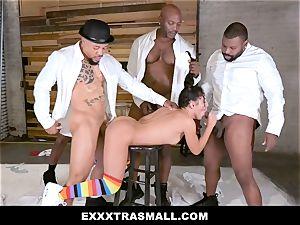ExxxtraSmall - four ebony guys smashing smallish nymph
