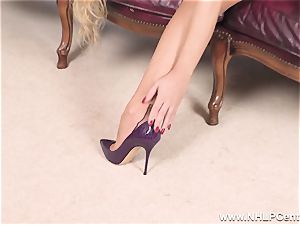 light-haired disrobes off underwear and solos in nylons and stilettos