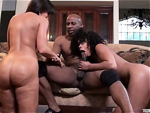 Lisa Ann and Misty Stone spit over this rock hard trunk