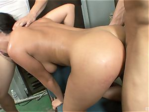 sumptuous brunette with thick globes Charley chase