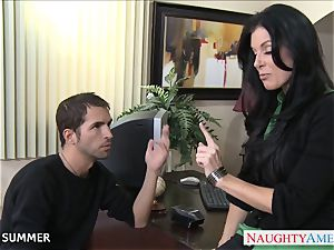 Stockinged India Summer pulverizing on the desk