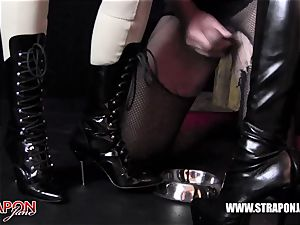 Femdoms latex dominate tag team sissy face pound strap-on