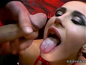 scorching czech dark-haired nicole plumbing and swallowing