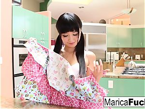 asian ultra-cutie Marica Hase inhales and screws