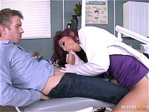 sugary-sweet dentist Monique Alexander deep-throats patients yam-sized rod