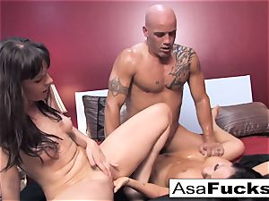 Asa and Dana squad up for a steamy threeway with Derrick