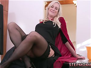 milf two youthful first time Halloween special With A three-way