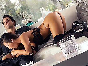mind-blowing Eva Lovia is training her bf some manners before the party