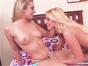 Vanessa cage gets finger-tickled and slurped by Dahlia Sky