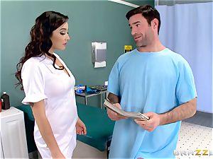nutsack busting nurse Karlee Grey jerks man meat with relief
