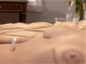 huge-boobed Becky feeds her starving throat with a live rock-hard manstick