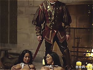 Alluring Anissa Kate and Jasmine Jae conform the king's will and man-meat
